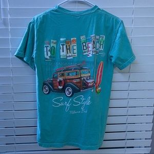 To The Beach graphic T-Shirt Mens S Tealish Green